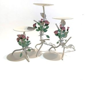Other - Set of 3 shabby chic twisted wire candle holders